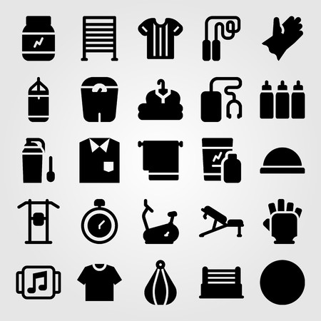 Fitness vector icon set. Punching, towel, clothing and shirt.