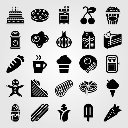 Food And Drinks vector icon set. Carrot, meat, coffee cup and orange juice. Ilustracja