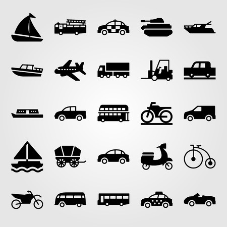 Transport vector icon set. Wagon, fire truck, bus and airplane. Vettoriali