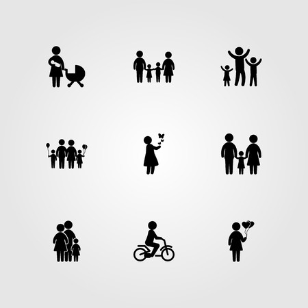 Humans icon set vector. Woman with balloons, baby, mother with baby and boy.