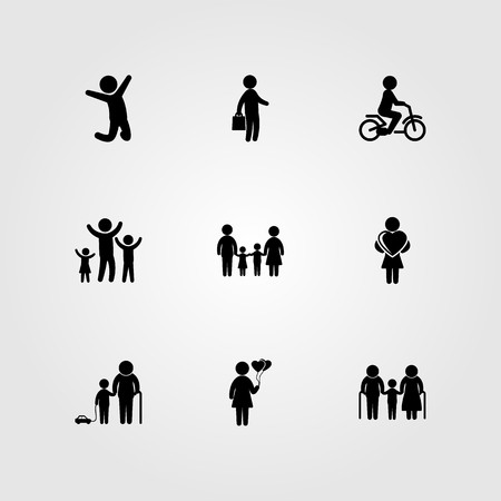 Humans icon set vector. Businessman, woman, jumping man and grandfather.