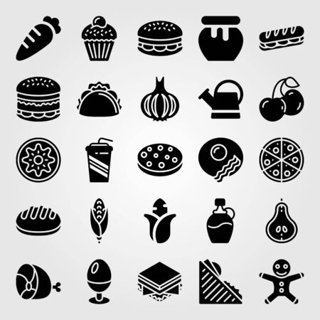 Food And Drinks icon set vector. corn, soft drink, ginger bread man and garlic