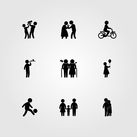 Humans icon set vector. Love, people hugging, father and baby.