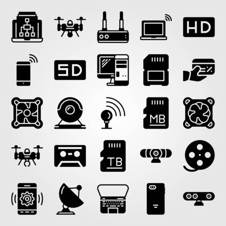Technology icon set vector. Hd, cassette, webcam and smartphone.