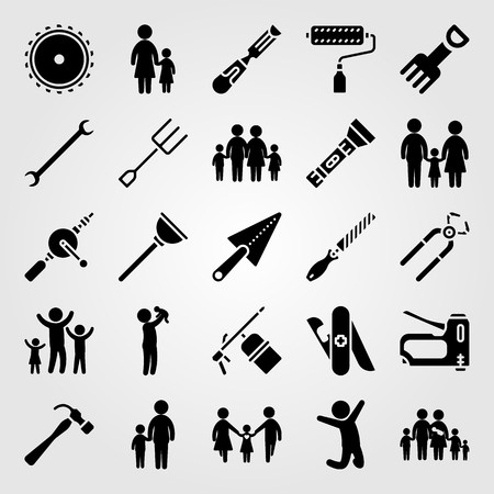 Tools icon set vector. Girl, staple gun, mom and pliers.