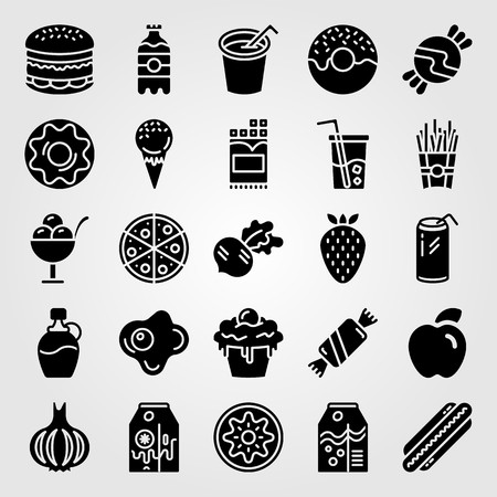 Food and drinks icon set vector. Chocolate, burger, apple and juice.