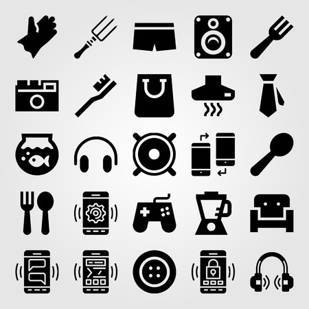 Shopping vector icon set. Fork, headphones, couch and button.