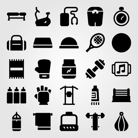 Fitness vector icon set. Towel, dumbbell, boxing glove and gym gloves.