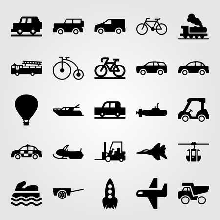 Transport vector icon set. Cable car cabin, hot air balloon, van and golf. Vettoriali