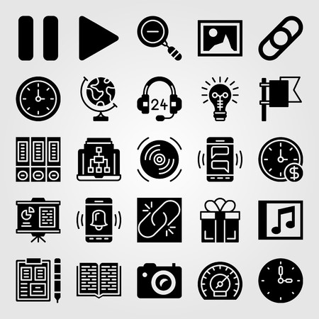 Essentials icon set vector. Clipboard, laptop, zoom out and smartphone.