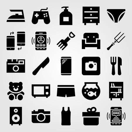 Shopping vector icon set. Bookshelf, fish bowl, liquid soap and cutlery.