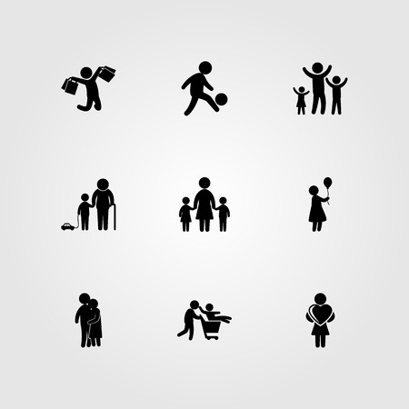 Humans icon set vector. Mother with two children, football player, son and mother