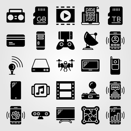 Technology vector icon set. Boombox, phone, drone and cellphone.