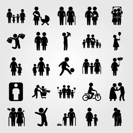 Humans icon set vector. Love, portrait, father and girl.