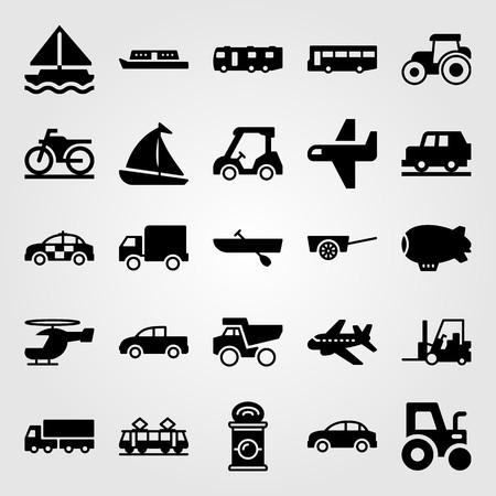 Transport vector icon set. Boat, tram, golf car and forklift. Çizim