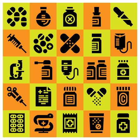 Medical icon set vector. Flask, primacy, poison and microscope.