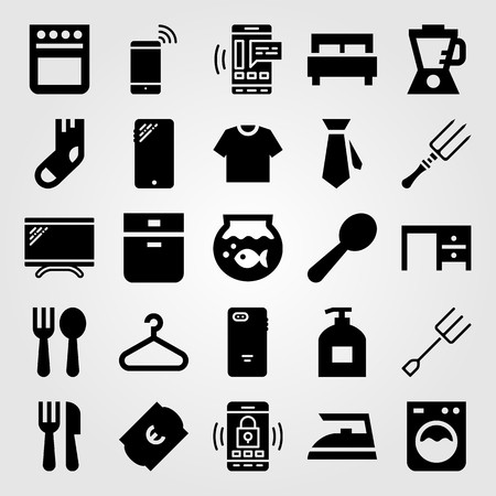 Shopping vector icon set. bed, blender, ticket and washing machine