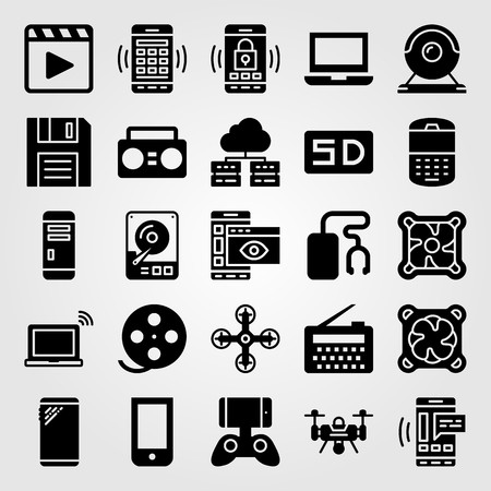 Technology vector icon set. doskette, laptop, drone and hhd