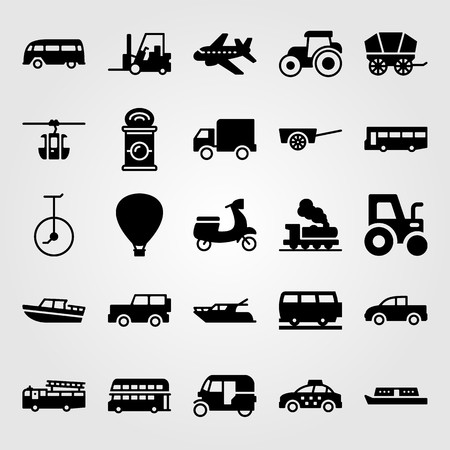Transport vector icon set. bus, tractor, lorry and pickup