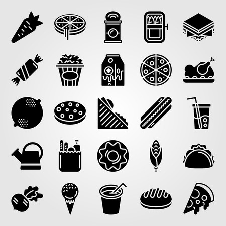 Food And Drinks icon set vector. ice cream, watering can, taco and doughnut Çizim