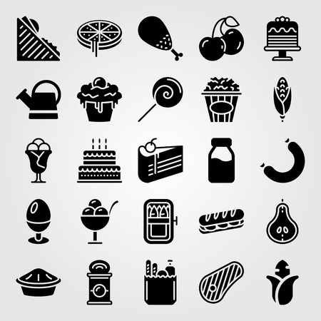 Food And Drinks icon set vector. can, birthday cake, groceries and sandwich