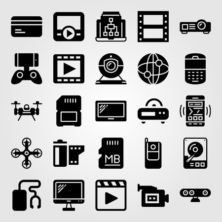Technology icon set vector. movie player, sd card, dard drive and radio Ilustração