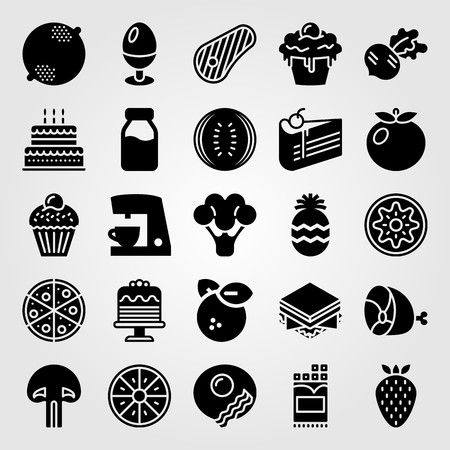 Food And Drinks vector icon set. kiwi, ham, milk bottle and lemon