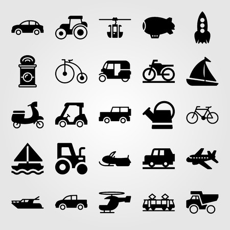Transport vector icon set. Snowmobile, tram, tractor and rocket. Stok Fotoğraf - 94233938