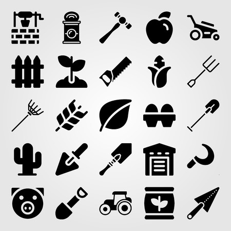Garden icon set vector. Fork, lawn mower, leaf and cactus.