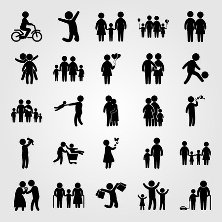 Humans icon set vector. Son, human, boy and woman with balloons. Illustration