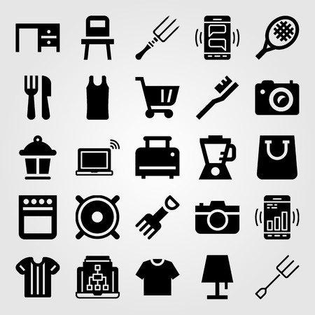 Shopping vector icon set. blender, oven, cutlery and smartphone