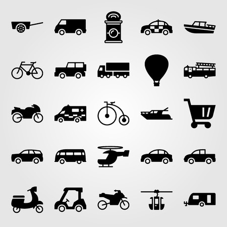 Transport vector icon set. Air balloon, police car, bicycle and car. Vettoriali