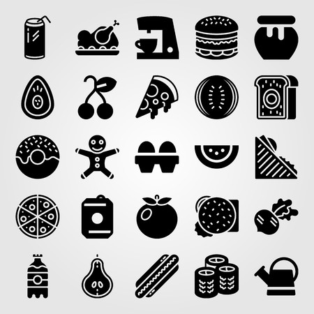 Food And Drinks vector icon set. sandwich, watermelon, radish and sishi
