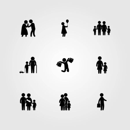 Humans icon set vector. Children, baby girl, business and girl. Иллюстрация