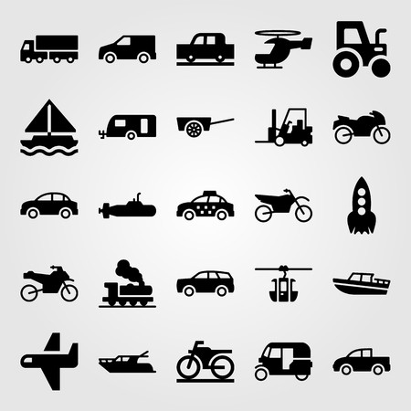 Transport vector icon set. Caravan, motorbike, tuk tuk and yacht.