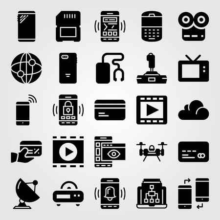 Technology icon set vector. Satellite, phone, memory and internet. Illustration