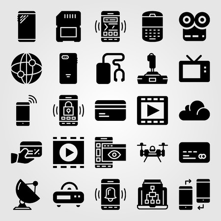 Technology icon set vector. Satellite, phone, memory and internet. Ilustração