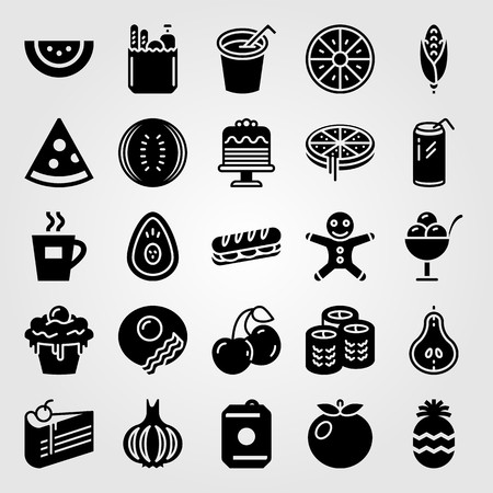 Food And Drinks vector icon set. breakfast, pizza, garlic and drink
