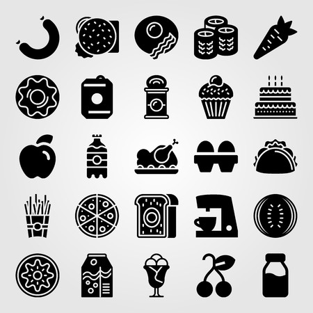 Food and drinks vector icon set. Pizza, meat, carrot and sushi.