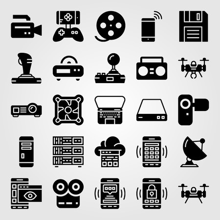 Technology icon set vector. Radio, smartphone, movie player and film roll.
