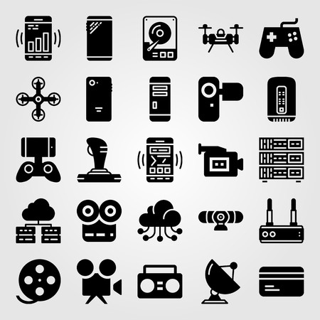 Technology vector icon set. Boombox, drone, game controller and film roll.