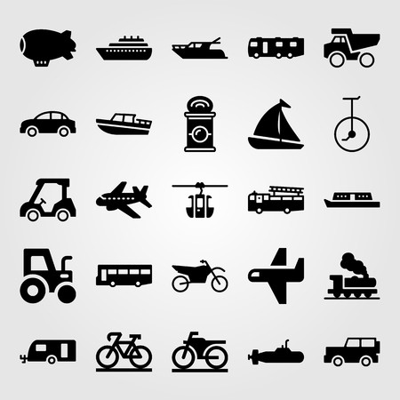 Transport vector icon set. Golf car, natch, can and truck.