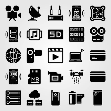 Technology vector icon set. Video camera, radar, internet and cellphone.