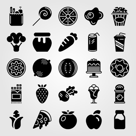 Food and drinks icon set vector. Broccoli, pizza and fried egg.
