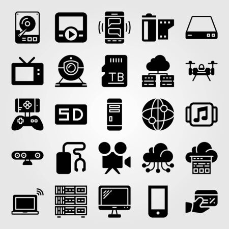 Technology vector icon set. monitor, dard drive, webcam and pc case Çizim