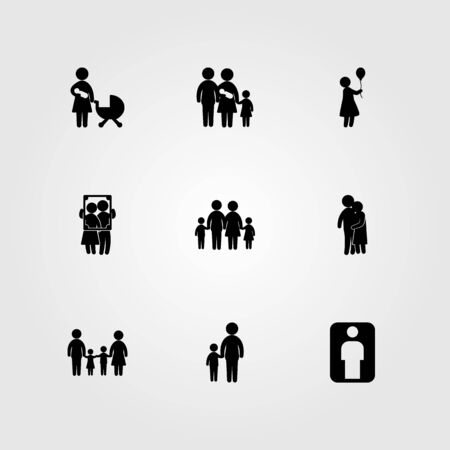 Humans icon set vector. people hugging, couple, man and mother and son