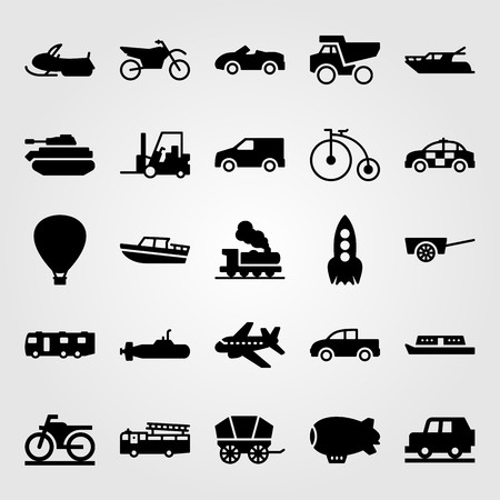 Transport vector icon set. Motorcycle, snowmobile, airplane and motorbike.