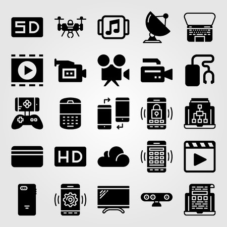 Technology icon set vector. video camera, credit card, game controller and phone Çizim