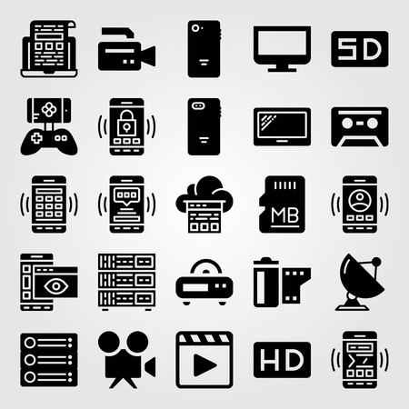 Technology vector icon set. Game controller, smartphone, cassette and radio. Illustration
