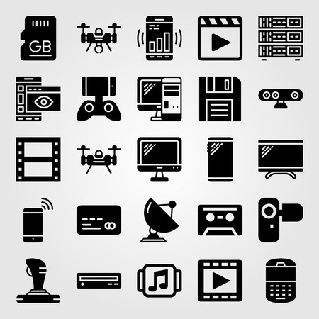 Technology vector icon set. Satellite, drone, music player and camera. Ilustração